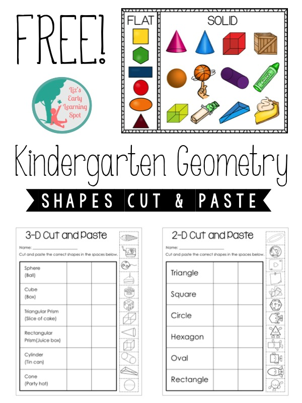 Printable Worksheets 2d & 3d shapes worksheets : Kindergarten Geometry: 2D and 3D Shapes - Liz's Early Learning Spot