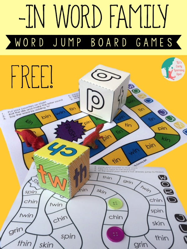 Two fun and free board games for learning -in words!
