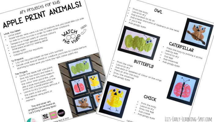 Free guidelines for creating these terrific apple print animals!