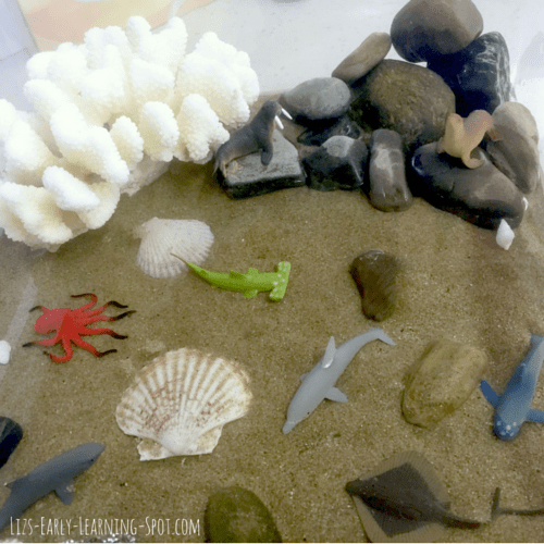 Create an under the sea small world and then add trash for your kids to clean up