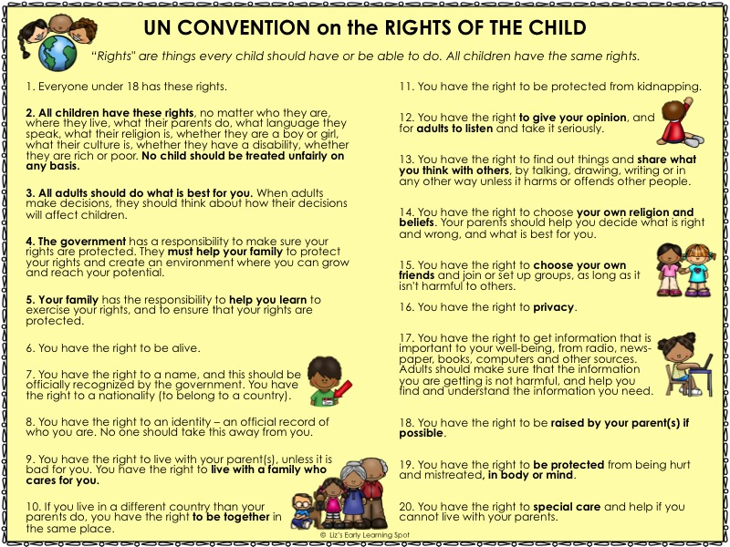 This poster containing the Rights of the Child can be downloaded for free.