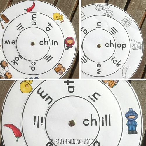 Download this free ch- digraph word wheel!
