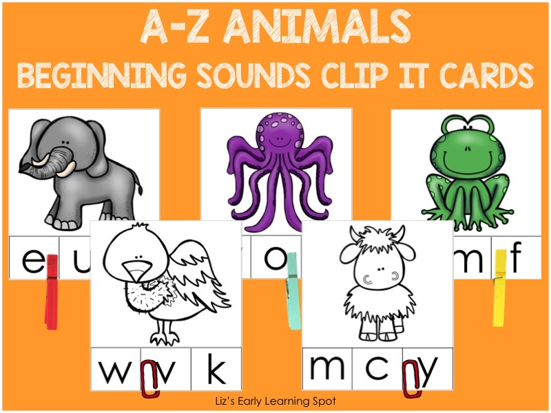 Use these sweet animal-themed clip it cards to practice beginning sounds! Only $1.