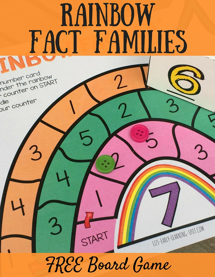 Practice finding fact families using this FREE rainbow game board!