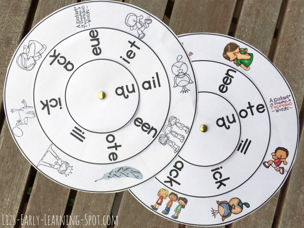 Practice queen, quiet, quick and others with these free digraph word wheels!