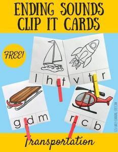 Ending Sounds Transportation Clip It Cards