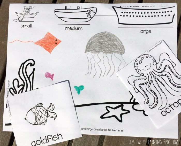 Practice early math concepts with this free ocean size sort activity for kids!