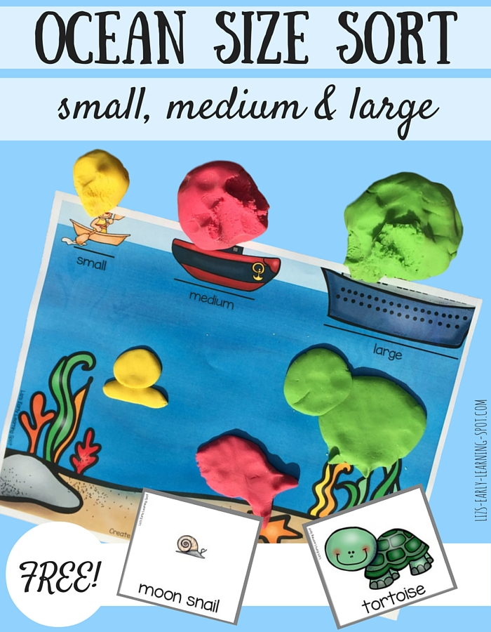 This free ocean size sort game gets kids to sort ocean creatures into small, medium and large, and then recreate them!