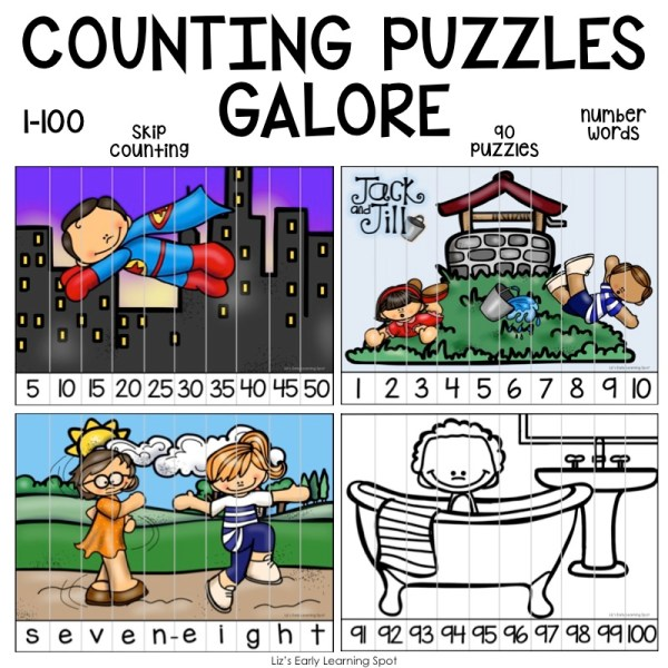 Find all the counting puzzles you'll need for counting on, skip counting and number words! $