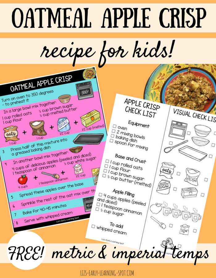 This oatmeal apple crisp recipe for kids gives them lots to do to help. Print off the free recipe and check list and give it a go!