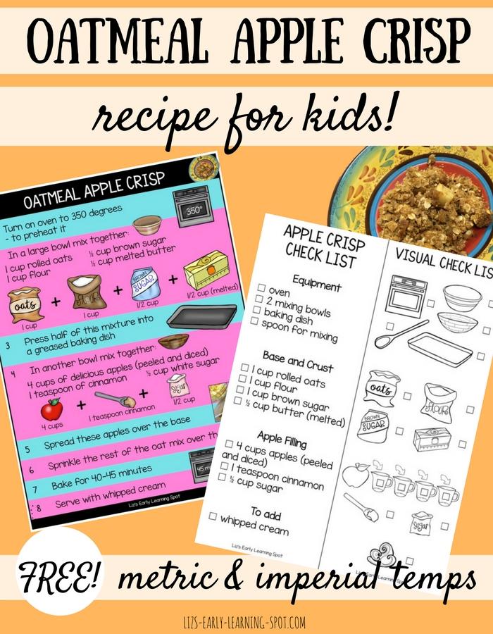 Oatmeal Apple Crisp A Recipe For Kids Liz S Early Learning Spot