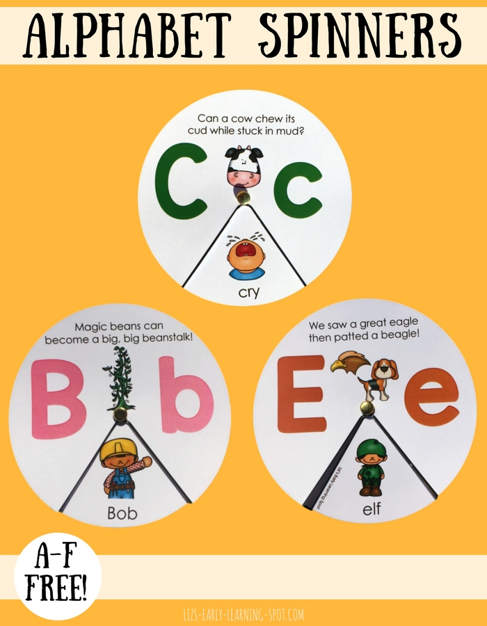 Practice letter sounds and beginning sounds with these alphabet spinners (A-F free)!