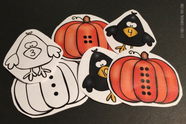 Have fun counting and matching these pumpkin and crow numbers!