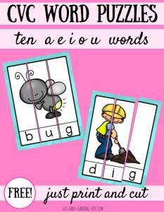10 Free CVC Word Puzzles