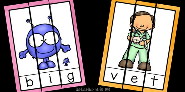 Just print and cut to get going with these free CVC word puzzles!