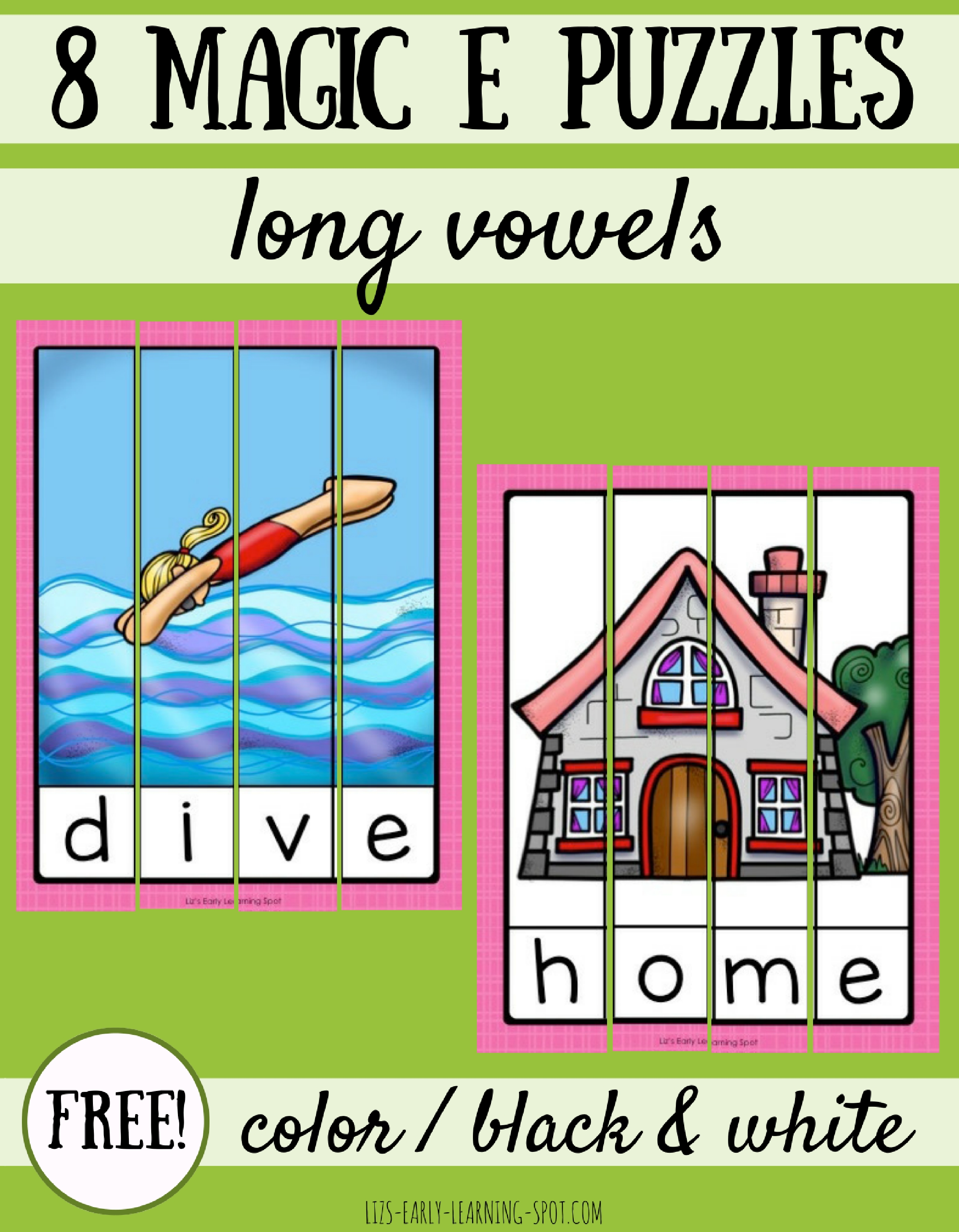 8 Magic E Long Vowel Puzzles
