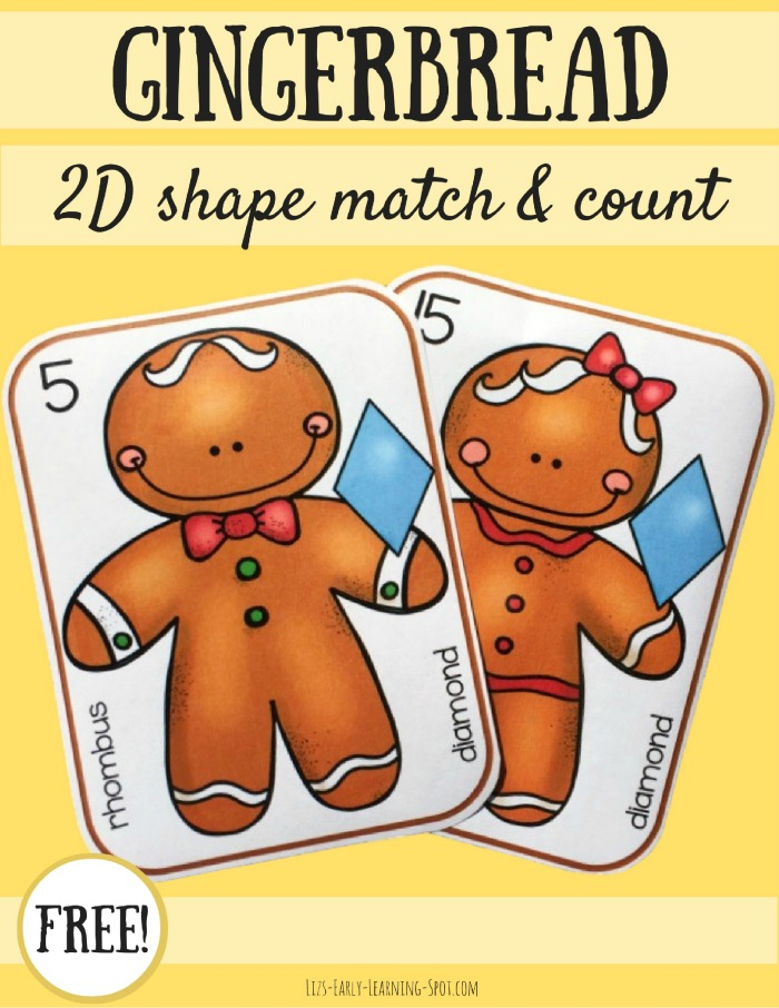 Practice matching 2D shapes and counting with these free gingerbread cards. They're in both color and black and white!