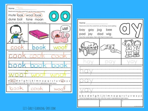 Practice long vowels with these free activity sheets!