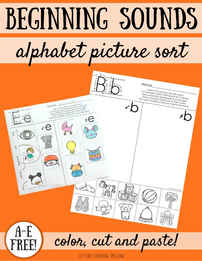 The Alphabet: Beginning Sounds Picture Sorts | Liz\'s Early Learning Spot