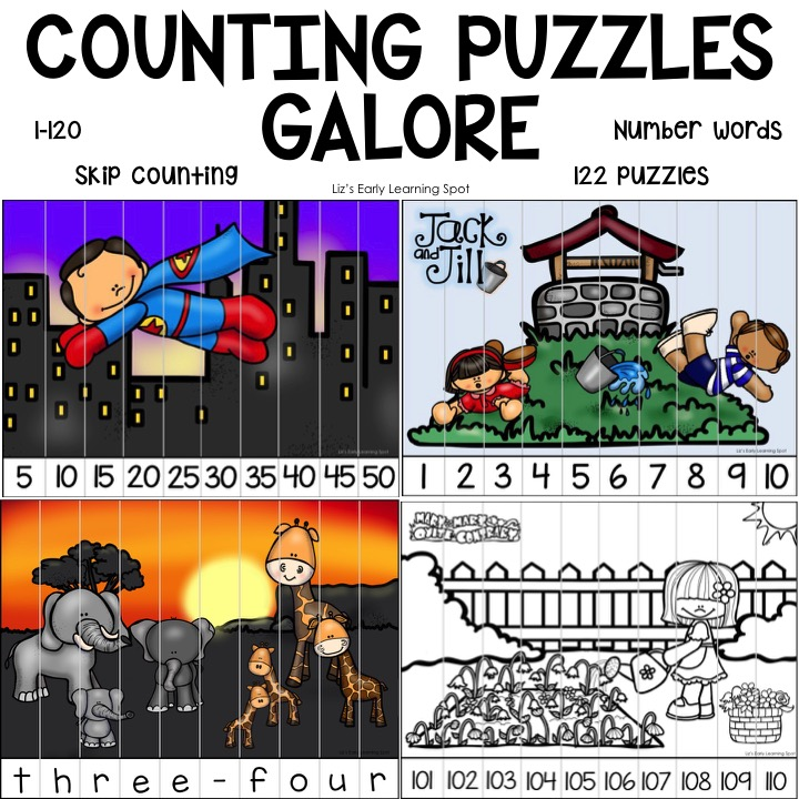 Find all the puzzles you'll need to reinforce counting by 1s, 2s, 5s and 10s to 120, plus number words!