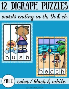 12 Digraph Puzzles: Words Ending in Sh, Th and Ch