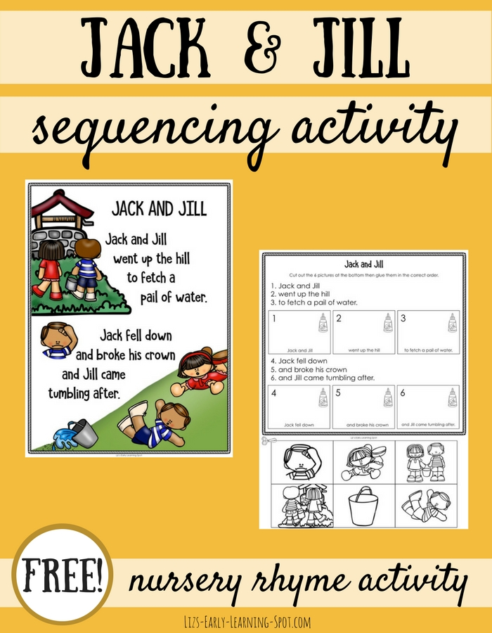 For nursery rhyme fun, grab this free Jack and Jill poster and sequencing activity!