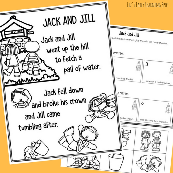 This free Jack and Jill poster and sequencing activity is great for Kindergarten readers!