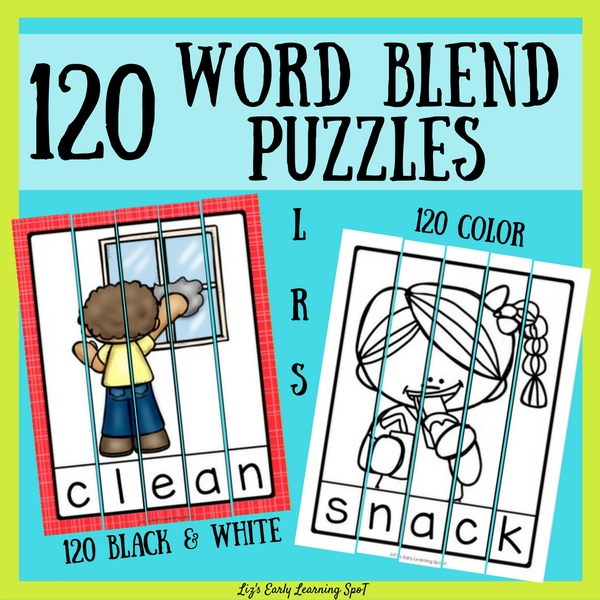 Word puzzles are a low-stress way for kids to reinforce their knowledge of beginning consonant blends!