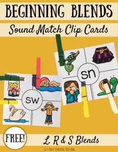 Beginning Consonant Blends Clip Cards