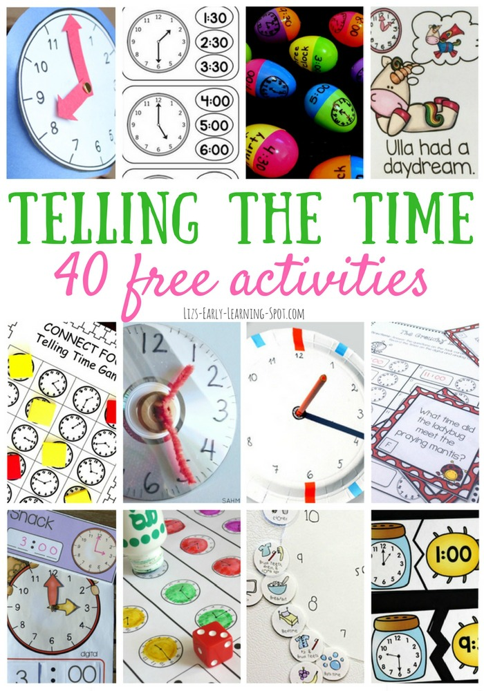 Find links to 40 free activities for telling the time! Hours, minutes, half and quarters, schedules and books!