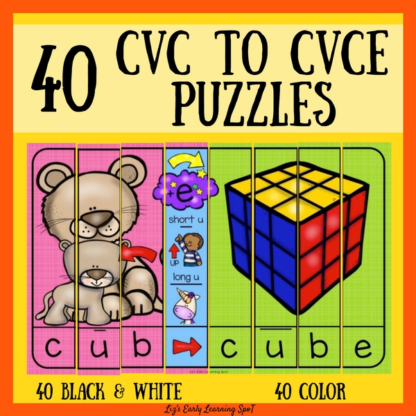 These CVC to CVCE puzzles are a completely engaging way for kids to learn the differences between CVC and CVCE words!