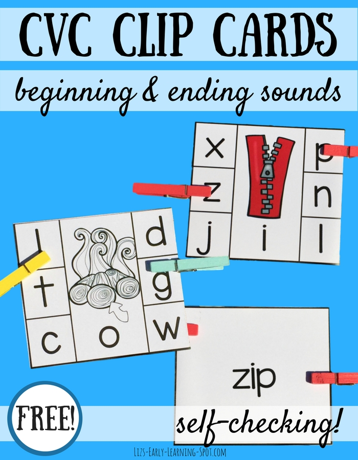 These free hands-on CVC self-checking clip cards are an effective way to practice reading three letter words and distinguishing individual sounds!