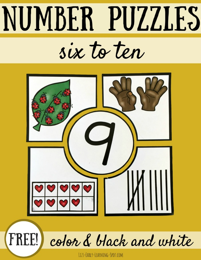 Grab these free number puzzles from Liz's Early Learning Spot! There's a link to numbers 1-5, too!