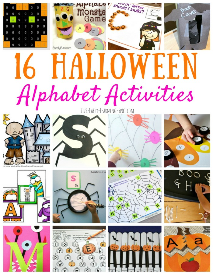 Check out these 16 free alphabet activities for Halloween!