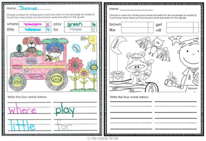 These sight words colouring pages are free and come in both US and Aussie spelling!