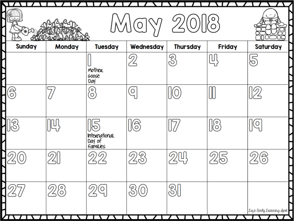 Calendar Spot May : Weekday and stationery labels for your classroom liz s