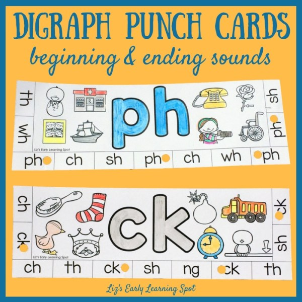 These digraph punch cards are a fun way to practice beginning and ending sounds!