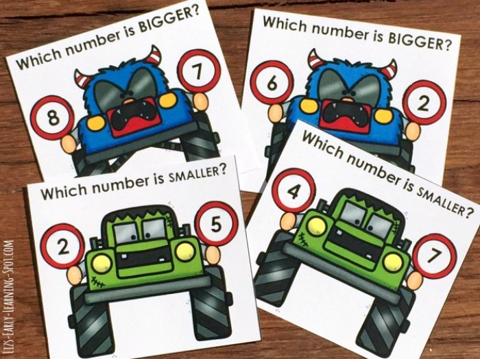 These free monster truck clip cards are a cute way to practice bigger and smaller numbers!