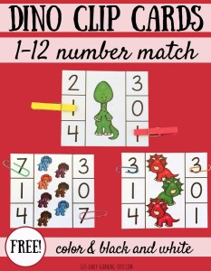 Dinosaur Clip Cards: Matching Numbers 1-12