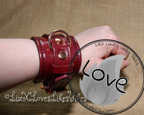 Review of the Liebe Seele Wine Red - Leather Handcuffs with Rose Gold Hardware by Liz BlackX  Copyright Lizxlikes.com
