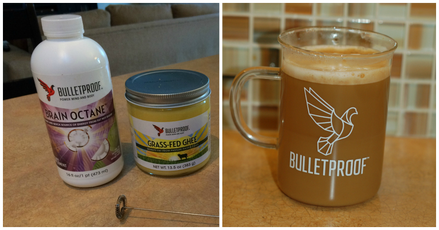 Making bulletproof coffee with Brain Octane and Grass Fed Ghee using a frother from Ikea.