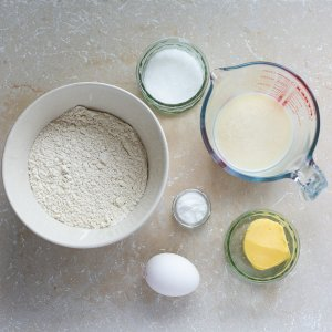 the ingredients for fluffy buttermilk scones