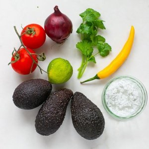 All the Ingredients for fresh guacamole