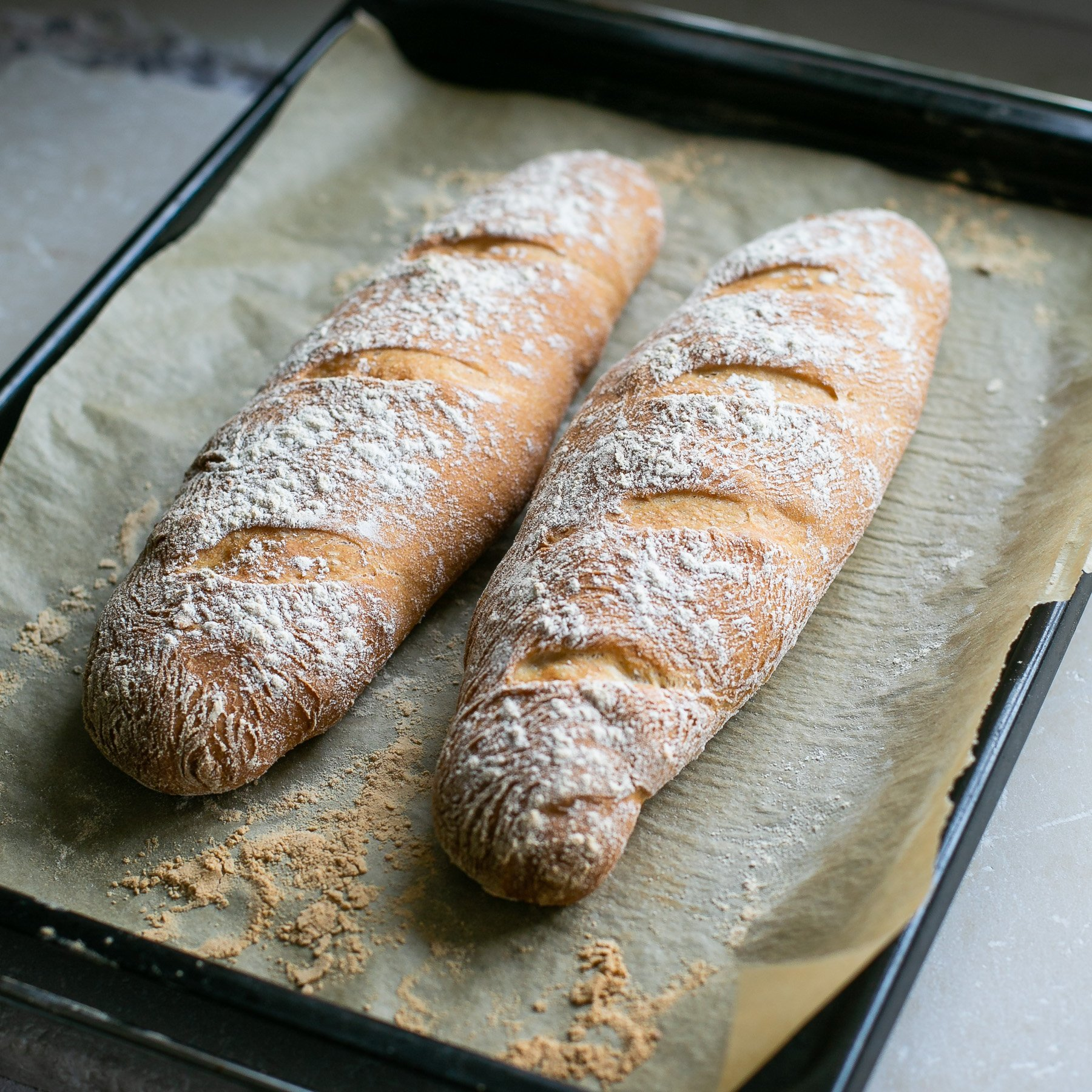 Finished baked baguettes out of the oven