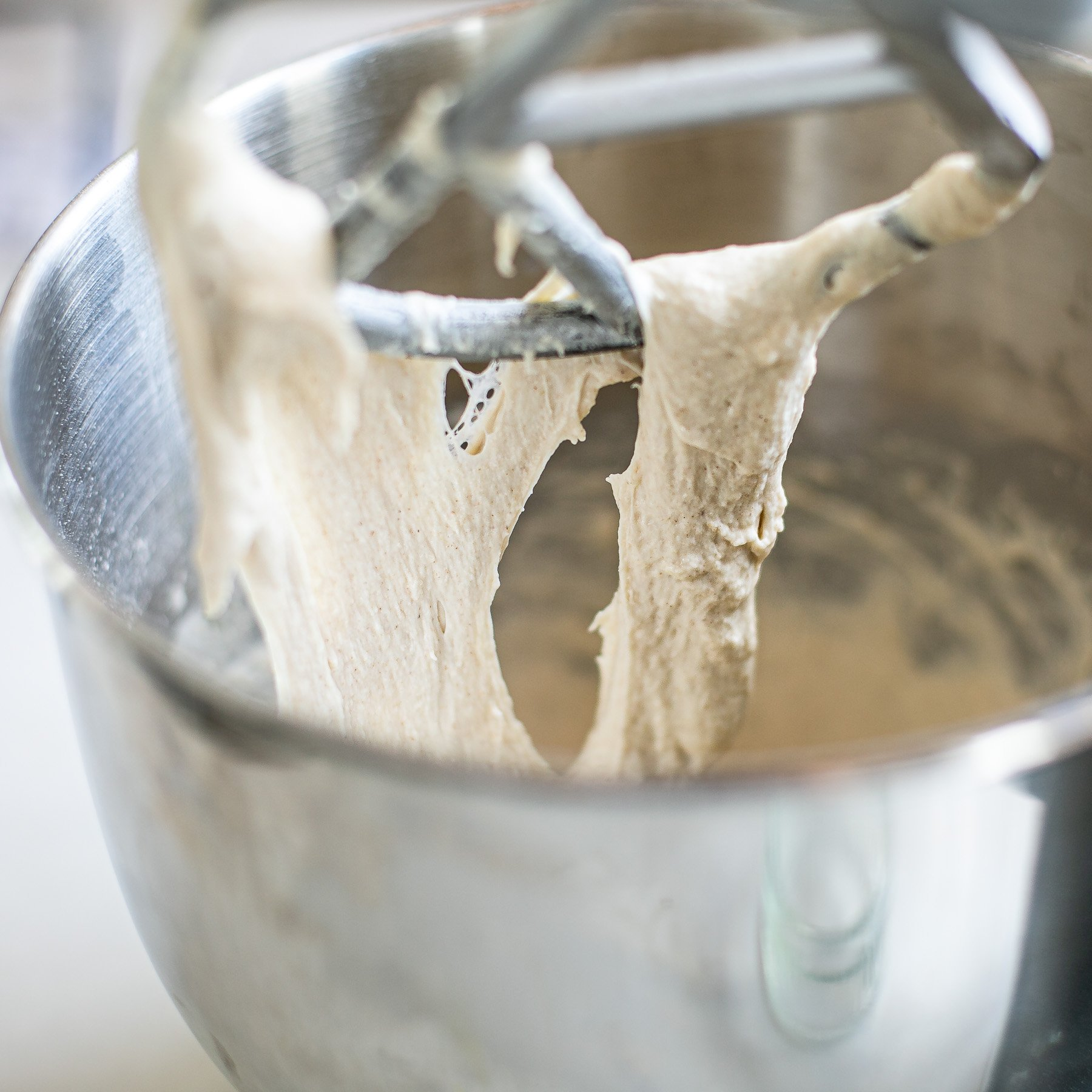 Stretchy and stringy dough for French baguettes in a food mixer