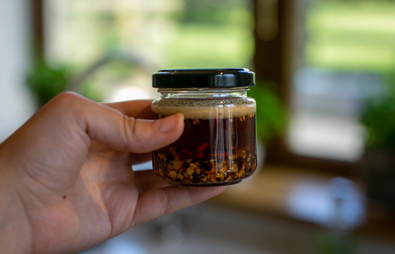 jar of homemade chilli oil