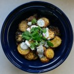 Curried aubergine and potato with chilli corriander yoghurt