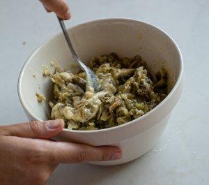 Baba ganoush mixture being stirred