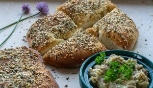 freshly cooked maneesh bread served with homemade Baba Ganoush