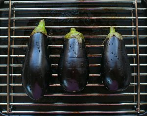 aubergines ready to be grilled for baba ganoush